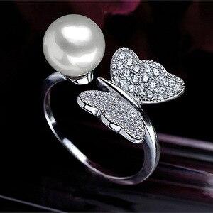 Image 2 - ASHIQI Anillo de Plata de Ley 925 auténtica ajustable para mujer, joyas de mariposa con perlas naturales de agua dulce