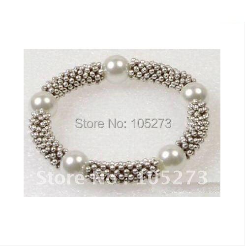 White Shell Pearl Tibet Silver Bangle Bracelet Fashion Jewelry Bracelet Free Shipping  NF291