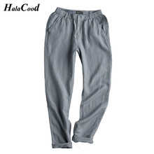 Hot Sell Fashion Sexy Linen Pants Male Summer Thin Trousers Plus Large Size Loose Cotton Hemp Pants Elastic Waist Casual Pants
