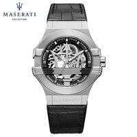 Maserati серый Автоматическая Наручные часы простой пряжкой круглые часы Роскошные Водонепроницаемый Скелет Механические часы R8822218002