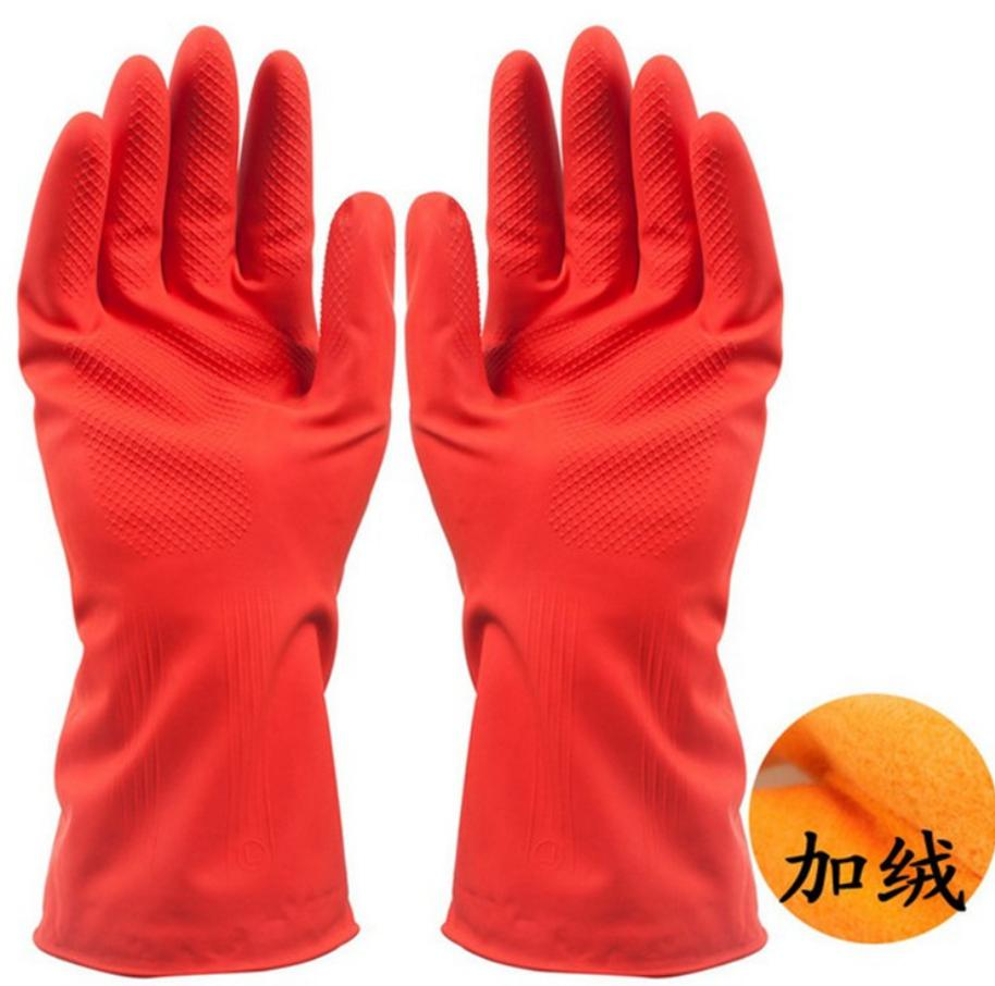 Wholesale 3 pc lot Waterproof warm gloves plus velvet short dishwashing gloves thickening latex household mittens in Household Gloves from Home Garden
