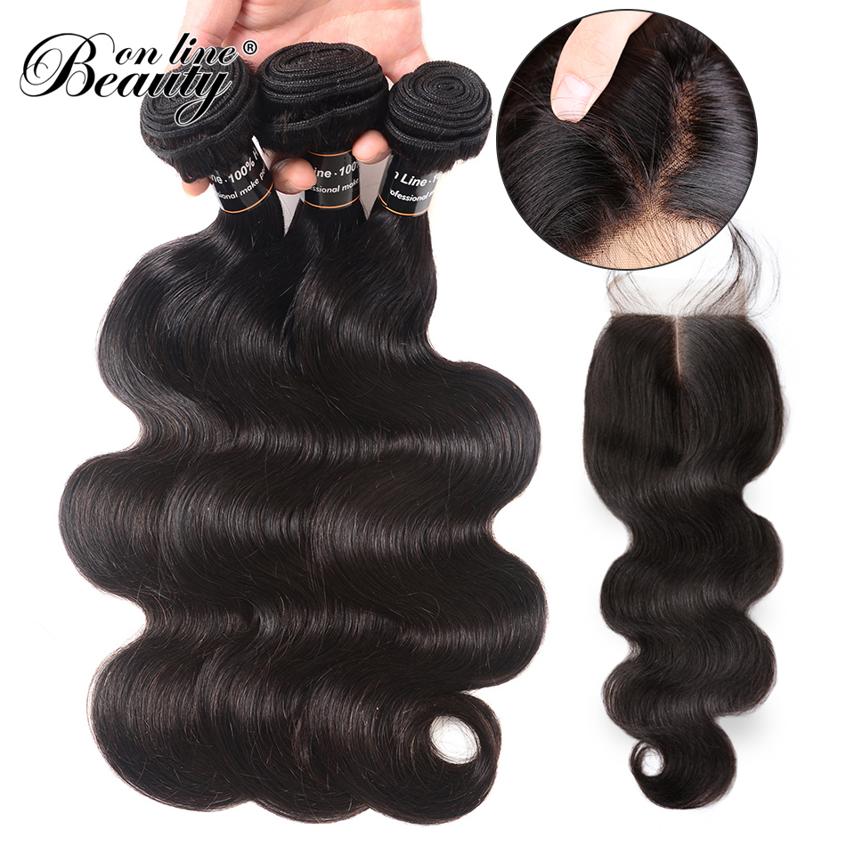 Brazilian Body Wave With Closure Middle Part 100% Human Hair 3 Bundles With Closure Non-Remy Hair Weave Bundles 4 Pieces/Lot BOL
