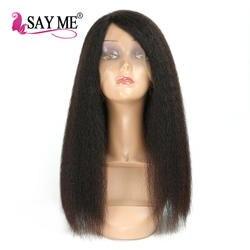 Итальянский яки грубые прямые Синтетические волосы на кружеве натуральные волосы парики для черный Для женщин Реми Бразильские Странный