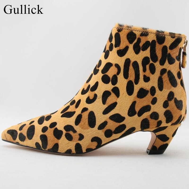 Real Photo Sexy Leopard Low Heels Ankle Boot Pointed Toe Back Zipper Short Winter Boots For Women Spike Heels Bootie Real Photo Sexy Leopard Low Heels Ankle Boot Pointed Toe Back Zipper Short Winter Boots For Women Spike Heels Bootie
