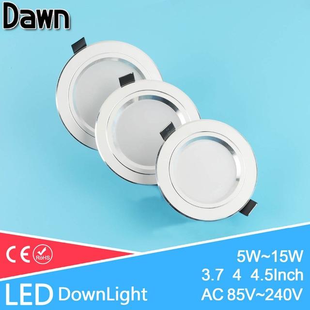 Silver White AC 110v 220v LED Downlight 5w 7w 9w 12w 15w Showcase Light Lamp Round LED Ceiling Recessed Light Spot Down Light