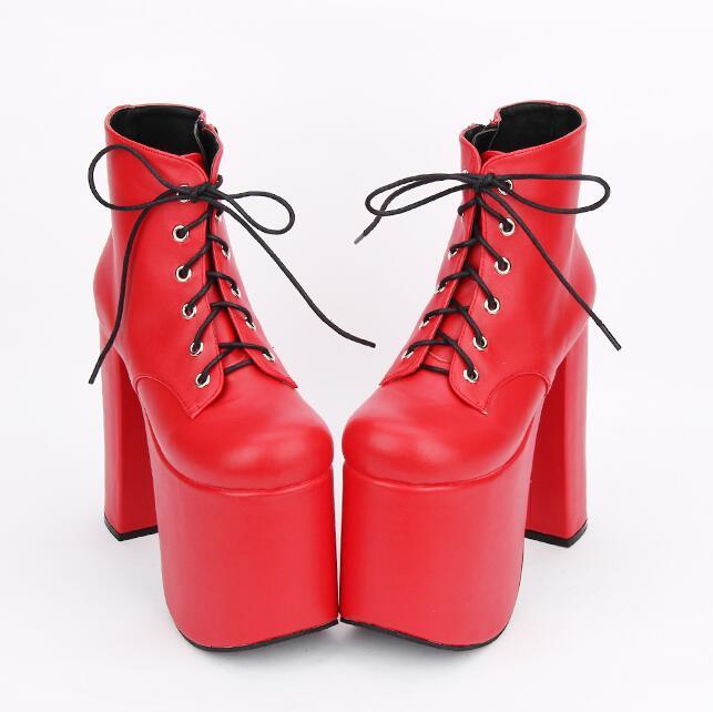 ملائكي بصمة موري فتاة سيدة لوليتا الكاحل فاسق الأحذية امرأة سوبر عالية رقيقة الكعوب مضخات النساء الأميرة اللباس أحذية الحفلات 33  47-في أحذية الكاحل من أحذية على  مجموعة 2