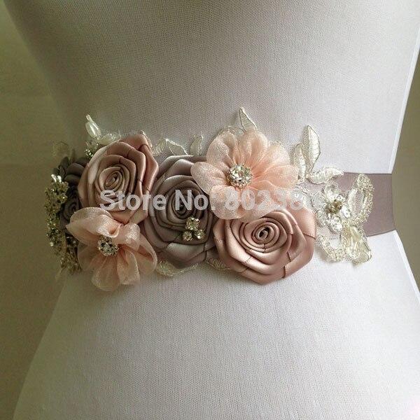 Grau Rosa Blume Mädchen Sash Blet