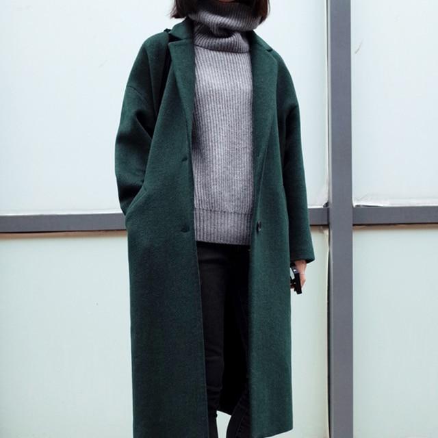 [XITAO] новая зимняя Корейский ветер мода стиль элегантный однобортный сплошной цвет широкий талией длинные свободные формы женской траншеи ОРБ-001