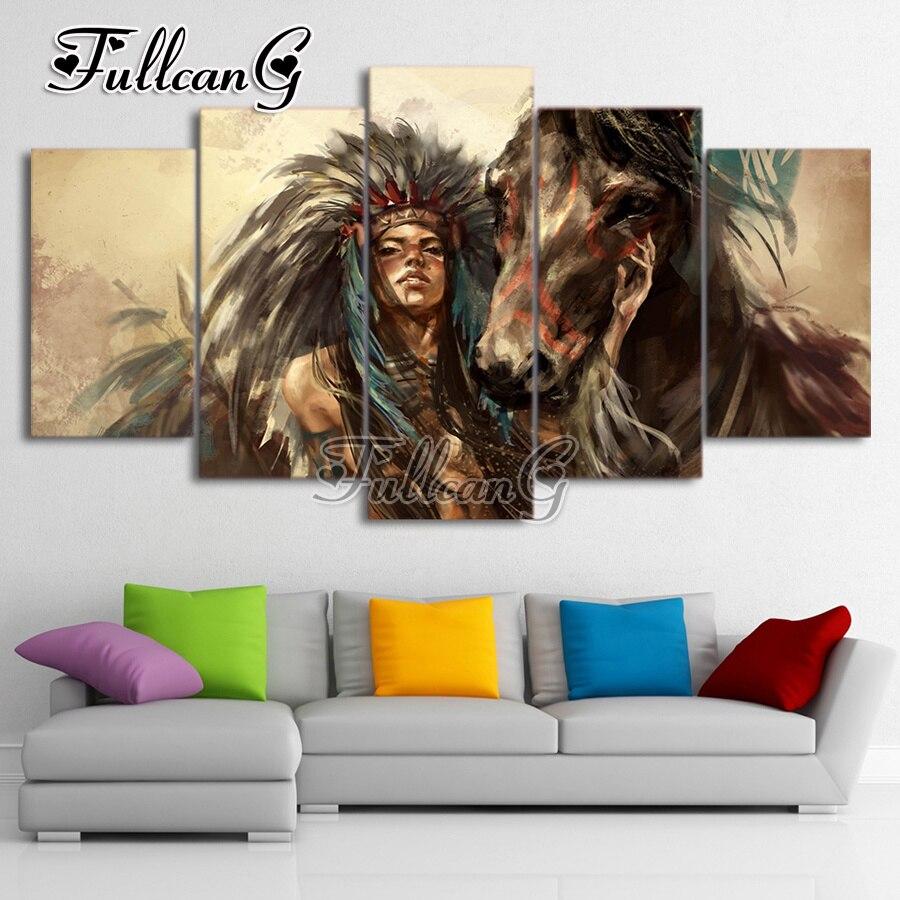 FULLCANG Horses Diy Full Square Diamond Embroidery 5pcs Painting Cross Stitch Mosaic G608