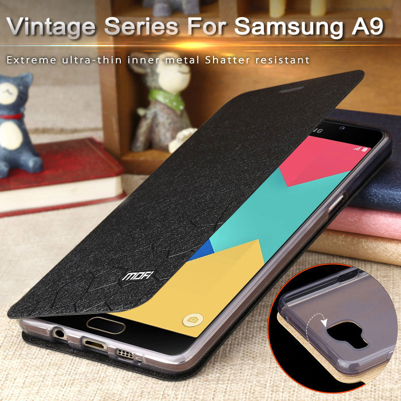 uk availability a428f 1ad37 US $10.49 |Mofi cover flip case for samsung galaxy a9100 leather cover back  galaxi a9 pro for galaxy a9100 luxury ultra thin soft silicon on ...