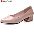 Плюс размер 34-43 высокие каблуки квадратных каблуках острым носом удобная мода обувь женщина партия свадебные туфли женщины насосы