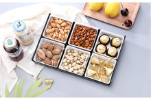 1PC Creative Plastic Snack Plates Divided Lattice Fruit Storage Tray Living Room Solid Dish Plate OK 0809