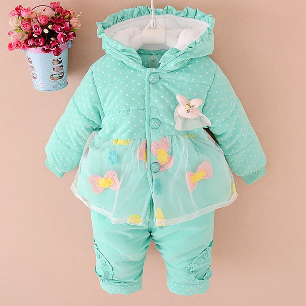 Winter Baby Girls Infants Clothing Sets Thicken Hooded Coat Parkas Jackets+Cotton Long Pants Two Piece Outwear Clothes MT459