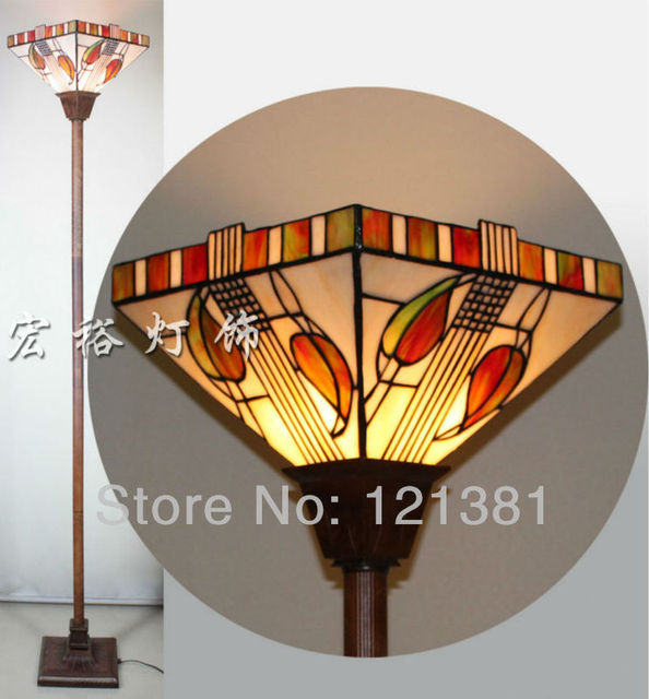 Mission Style Tiffany Torchiere Lamp Floor Uplight Stained Gl Lampshade Handcrafted Indoor Lighting Standing Lights