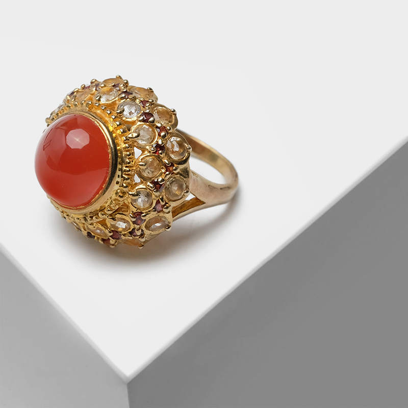 Vintage 925 Silver plated with 22k gold Exquisitely flower pierced design inlaid semi-precious stone agate hoelite RingsVintage 925 Silver plated with 22k gold Exquisitely flower pierced design inlaid semi-precious stone agate hoelite Rings
