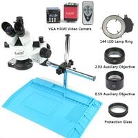 Professional Simul Focal Trinocular Stereo Microscope 3.5X 90X Vertical Zoom+14MP HDMI VGA Microscopio Camera For PCB Soldering