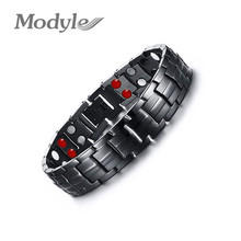 Modyle Mens 361L Stainless Steel Germanium Balance Energy Magnetic Power Health Bracelets Bangles(China)