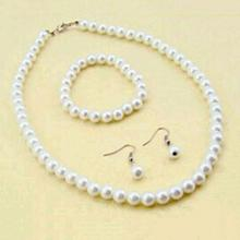 Women Genuine 7-8mm Natural Freshwater Pearl Necklace Bracelet Earrings Set недорого