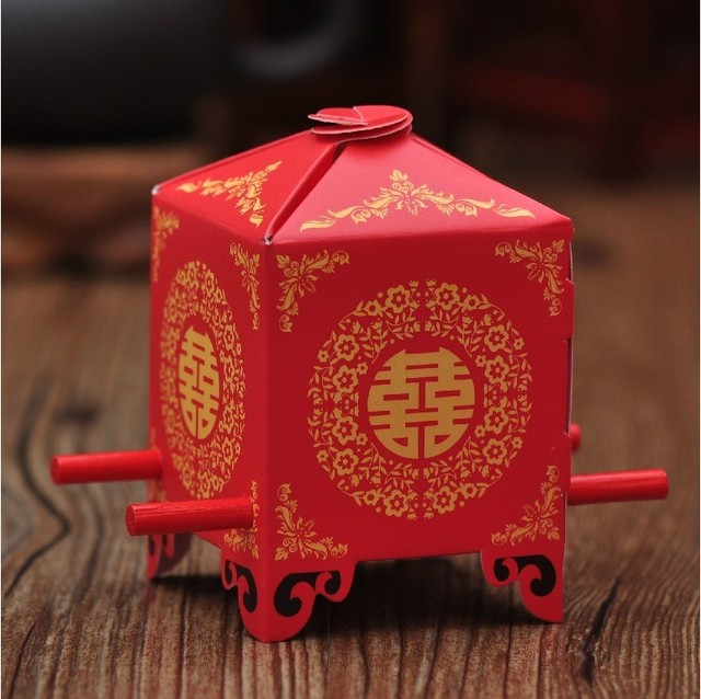 Chinese Asian Style Red Double Happiness Sedan Chair Wedding favor box 50PCS/LOT party gift favor candy box
