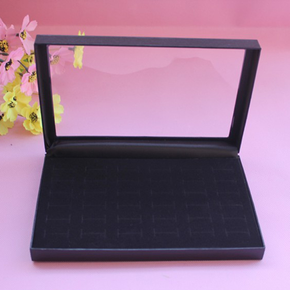 36 Slots Rings Display Showcase Jewelry Box Velvet Insert Foam Jewelry Storage Organizer Holder Show Case Black