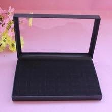 36 slots anéis exibir vitrine caixa de jóias de veludo inserção espuma jóias armazenamento organizador titular mostrar caso preto