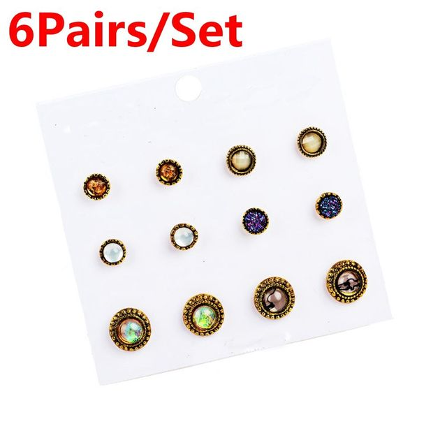 6Pairs/Set HOT 2017 Newest Women Vintage Alloy Crystal Earrings Vintage Ear Studs Party Jewelry Colorful Stone Nice gift