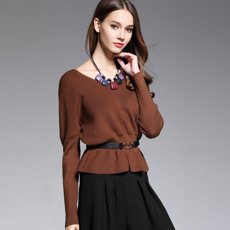 2017new suave moda géneros de punto vestidos de suéter de manga larga Con Cuello