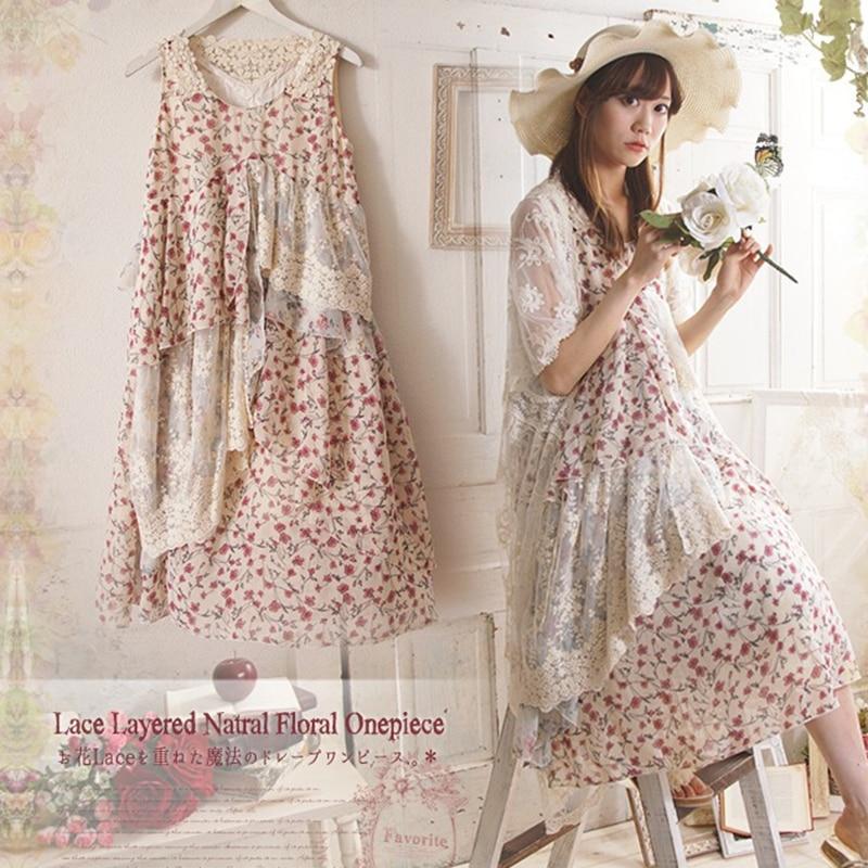 2017 Japanese Mori Girl Original Single Retro Floral Embroidery Women Asymmetric Dress Summer Loose Lace Sleeveless