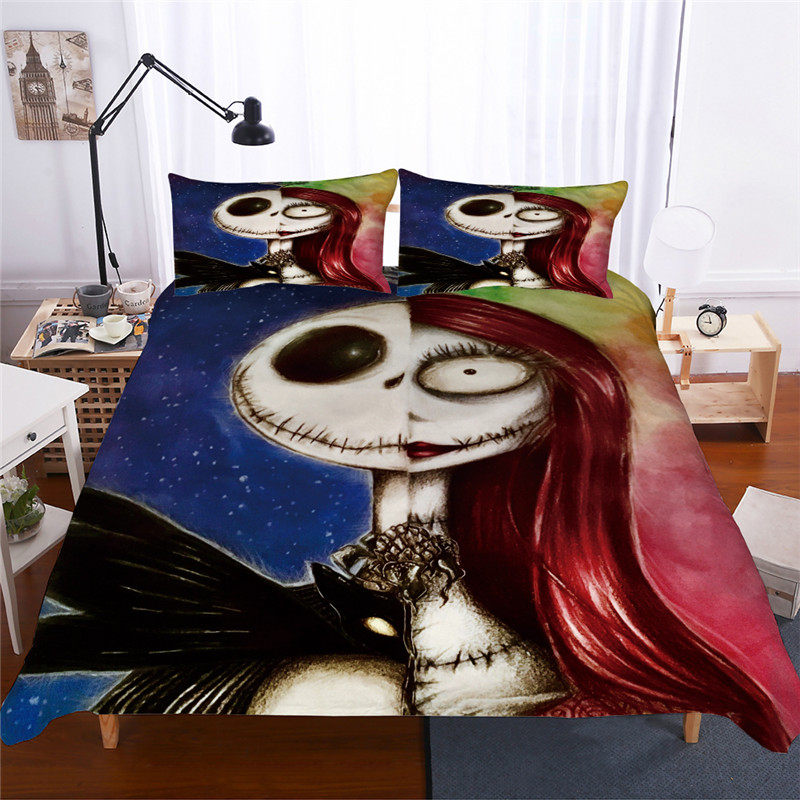 Bonenjoy 3D Bedding Set Queen Size Nightmare Before Christmas Bedding Skull King Size Duvet Cover Sets with Pillowcase CoverBonenjoy 3D Bedding Set Queen Size Nightmare Before Christmas Bedding Skull King Size Duvet Cover Sets with Pillowcase Cover