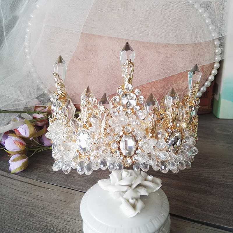 Image 2 - HIMSTORY Wedding Bridal Prom Princess Clear Crystal Rhinestone Pearl Tiaras Crown Hairband Bridal  Wedding Crown Hairwear-in Hair Jewelry from Jewelry & Accessories