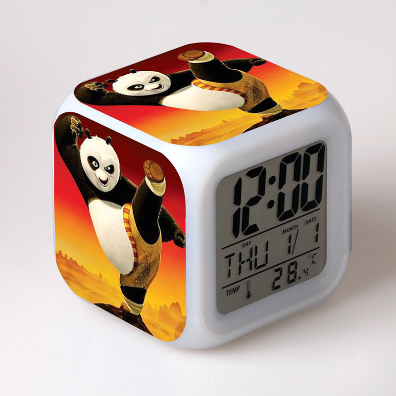 Cartoon Kung Fu Kungfu Panda 3 Clock Toy Panda Colorful Light With Thermometer For Kid Birthday Gift
