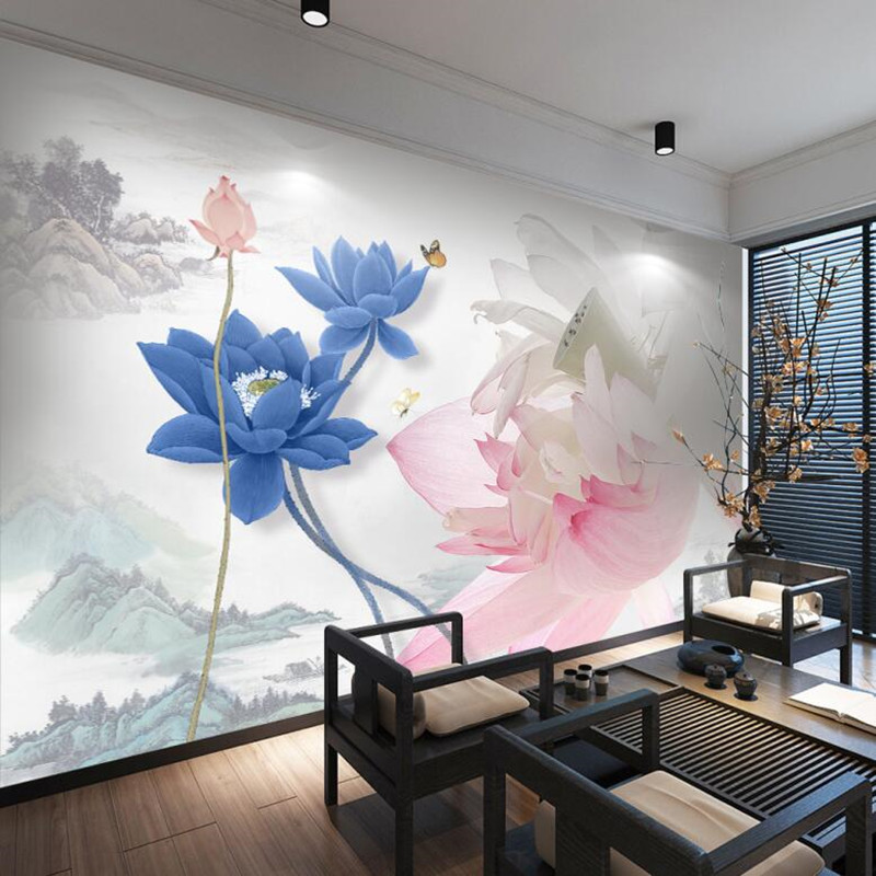 Custom Large Photo Wallpaper Vintage Murals New Chinese-Style Lotus Ink Painting Sofa TV Wall Painting Wall Decorative Painting 1841art large murals3d can be custom made furniture decorative wallpaper house ornamentation decor wall stickers chinese style