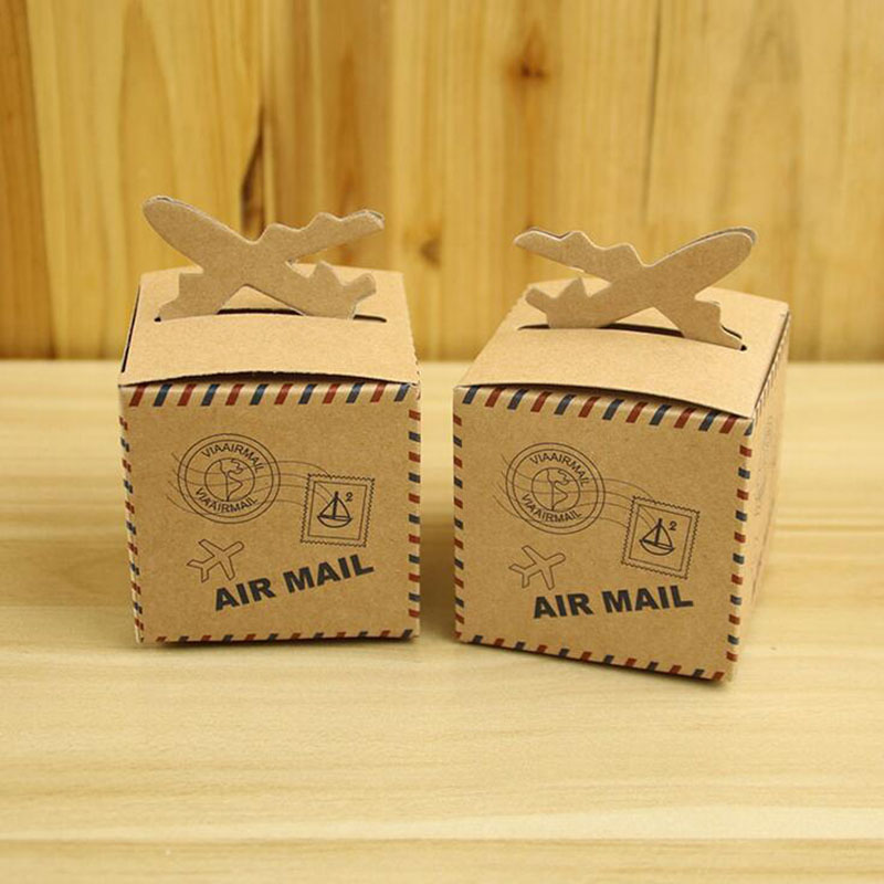 100Pcs Paper Candy Box Air Mail Plane Candy Boxes Wedding Favor Box For Wedding Party Decoration Supplies