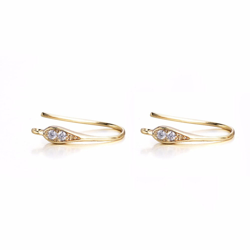 18mm Pure Gold Color CZ Zircon Ear Wire Hook Earrings Findings For Nickle Free Components DIY Jewelry Findings in Jewelry Findings Components from Jewelry Accessories