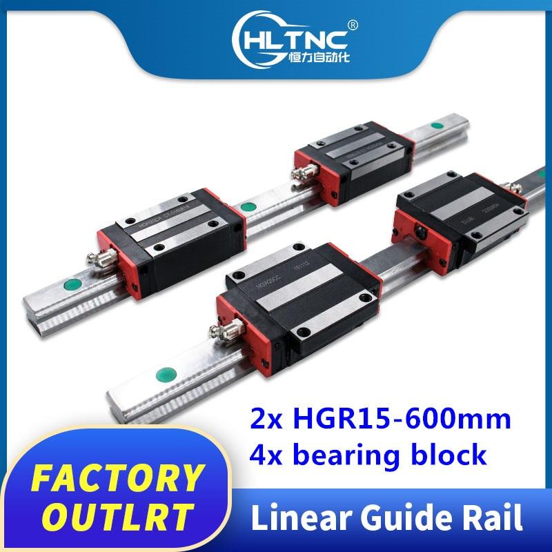 CNC Set 20-800mm 2x Linear Guideway Rail 4x Square type carriage bearing block