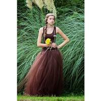 Brun Pleine Longueur Tutu Jupe Femmes Printemps Automne Longue Tulle Jupe Chocolat Génial Maxi Jupe Robes De Bal