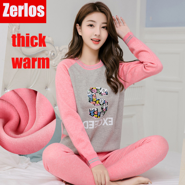 daf20dd7b84 women s thermal underwear women long johns plus velvet thicken warm cartoon  print cute sweet winter home clothing 2 pieces set