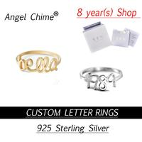 Custom Letter Rings Angle Chime Brand Personalized Number Name Ring Real 925 Sterling Silver