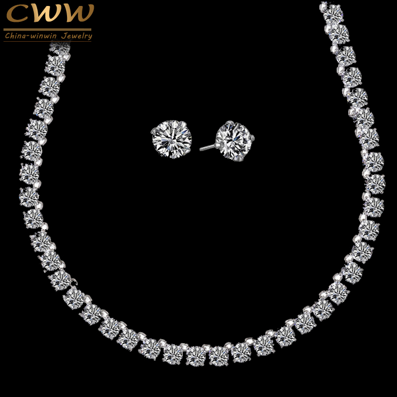 CWWZircons Stunning Big Carat Round CZ Crystal Necklace and Earrings Luxury Bridal Party Jewelry Set For Wedding Evening T061 cwwzircons water drop royal blue cz necklace earrings ring and bracelet 4 piece wedding jewelry set for women bridal party t098