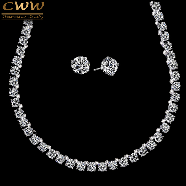 CWWZircons Stunning Big Carat Round CZ Crystal Necklace and Earrings Luxury Bridal  Party Jewelry Set For 057be35ba10d
