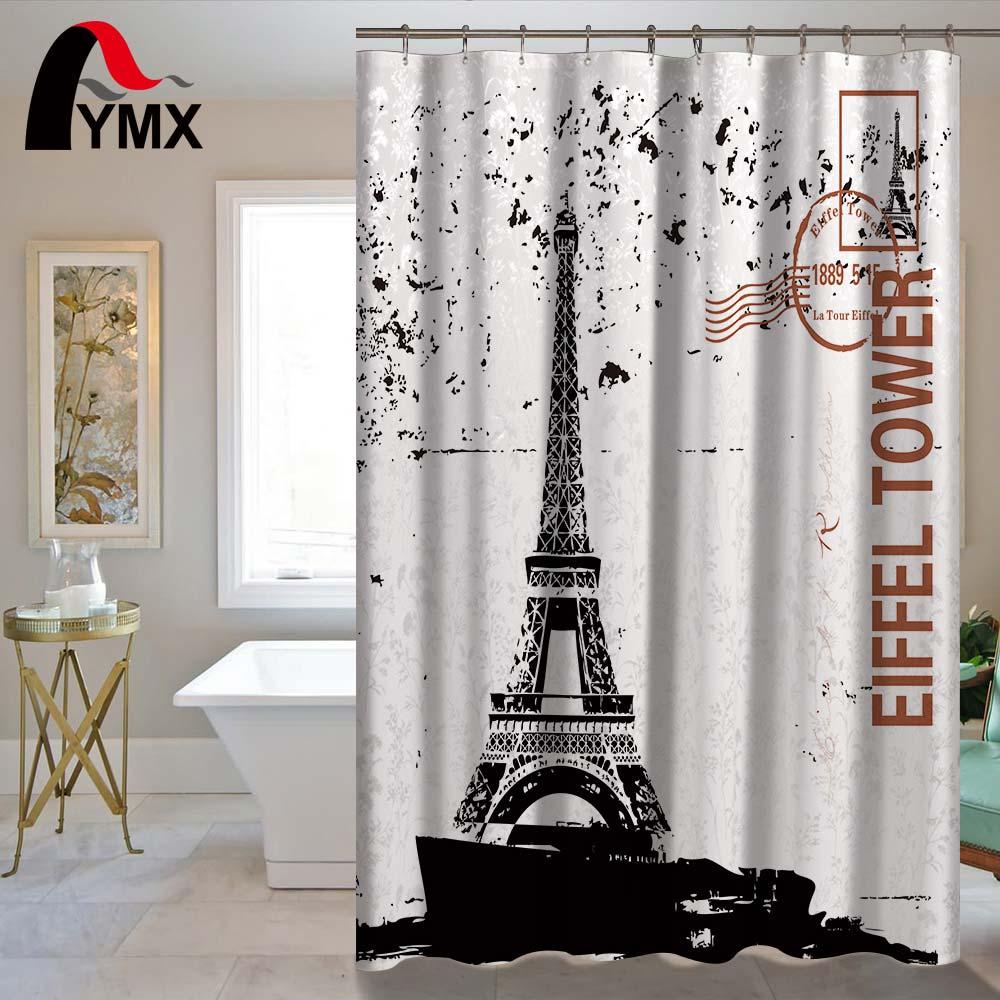 Eiffel Tower Scenery Waterproof Shower Curtain Bathroom ...