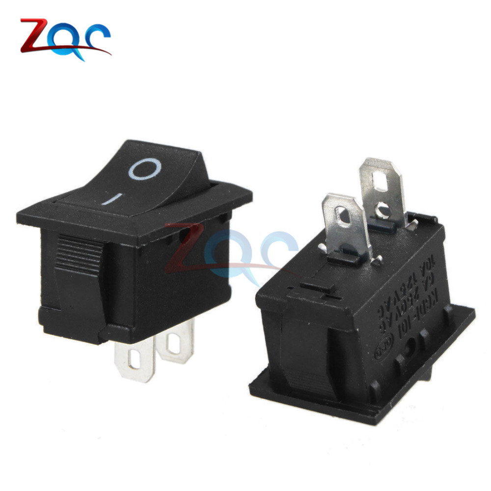 5PCS 2Pin Snap-in ON/OFF KCD1-101 Car Boat Round Rocker Toggle SPST Switch 125V 5pcs black push button mini switch 6a 10a 250v kcd1 101 2pin snap in on off rocker switch 21 15mm