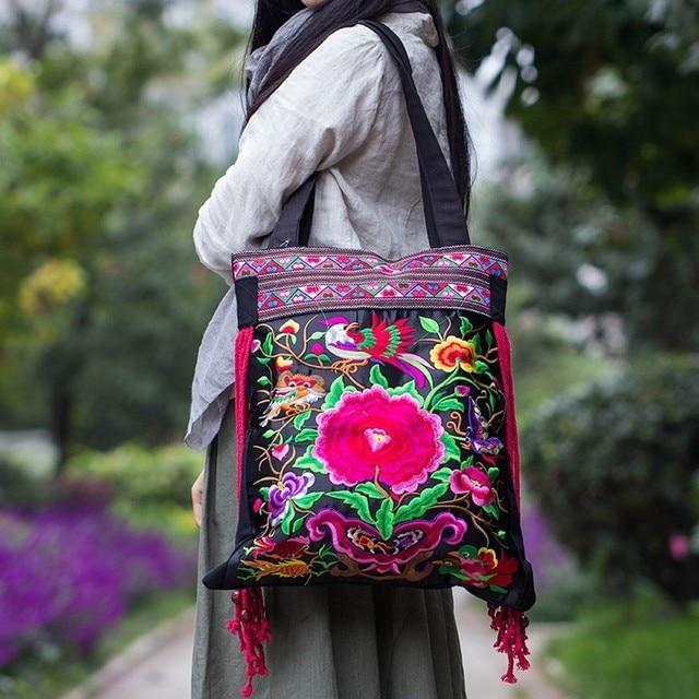 moda con bordados bolsos para hombro flores a la Bolsos de mujer SwIqzqnp