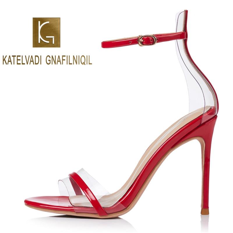 KATELVADI Women Sandals 10CM Thin High Heel Stilettos Red OpenToe PVC Shoes Ankle Buckles Wedding Plus Size 34-41 K-375