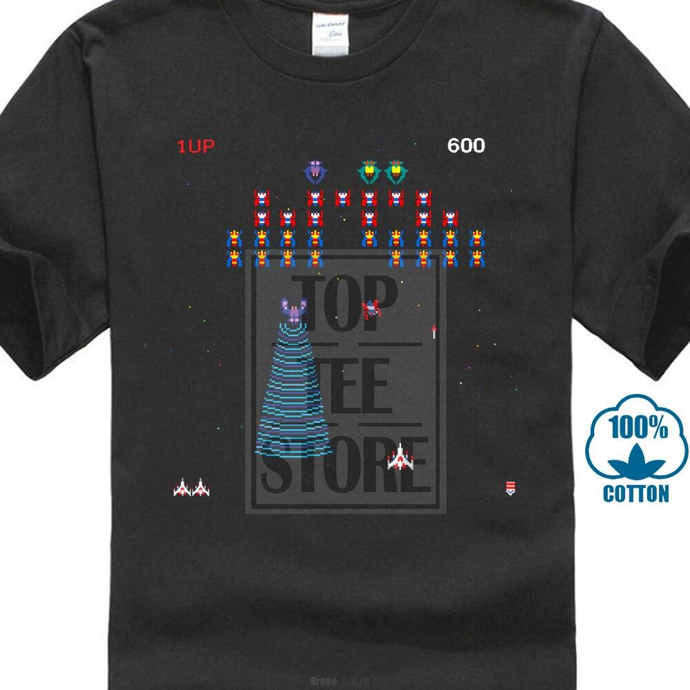 Gildan Galaga Arcade Game Retro Gamer Classic Mens Black   T     Shirt   Size S 2Xl 100% O Neck   T     Shirts   Male Low Price Steampunk