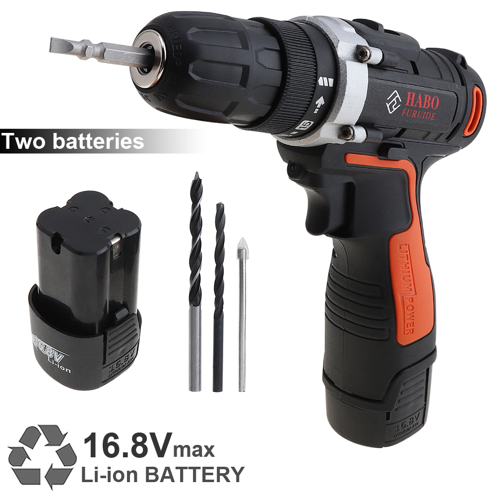 AC 110-240V Cordless 16.8V Electric Drill/Screwdriver with 2 Li-ion Batteries and Two-speed Adjustment Button for Handling Screw accell disposable 180mah li ion button batteries 5 pcs