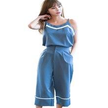 New Summer Women's Suit Loose Two Piece Set Chiffon Costume Women Camis Top+Pants Wide Leg Slim Pants Suits Sets High Waist S-XL