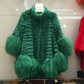 Cape-style rabbit fur coat lady long section of beach wool coat tassels splicing