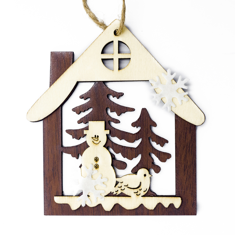 Cute Cartoon Smile Elk Wooden Ornament Christmas Tree Decoration Hanging Pendant Xmas Party Decor for Home Kids Gift Animal 2020 44