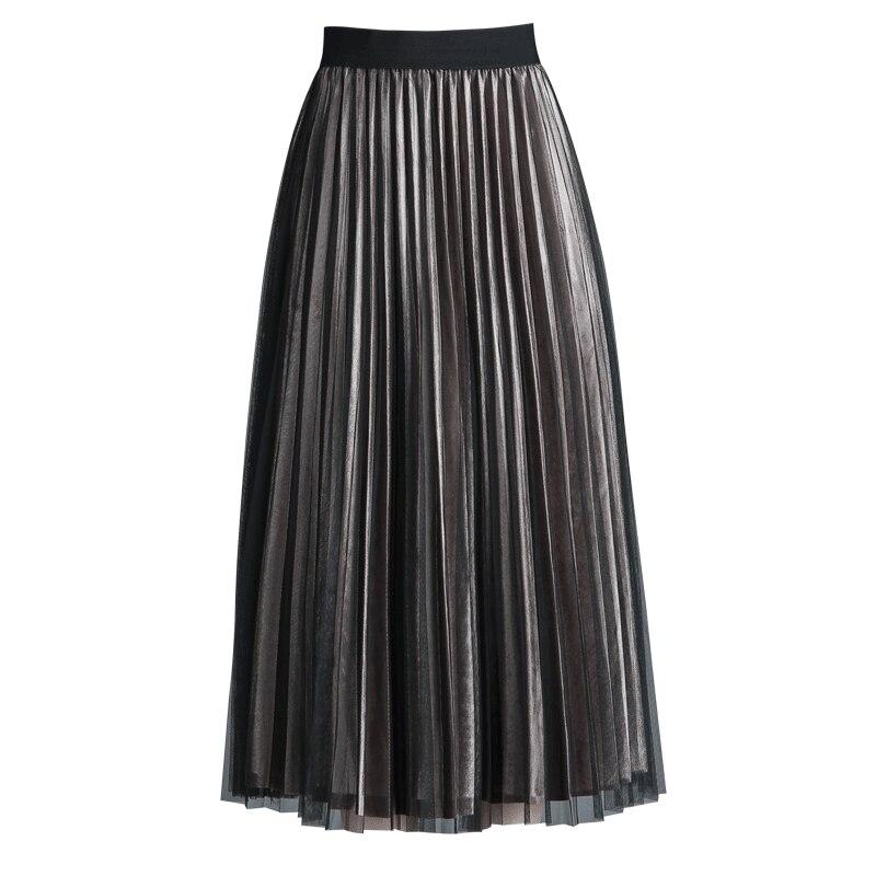 Новое поступление корейский стиль Осень-Зима матч металлик Цвет линии середины икры юбка ...